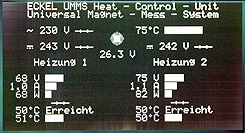 Display of the Heat Control Unit